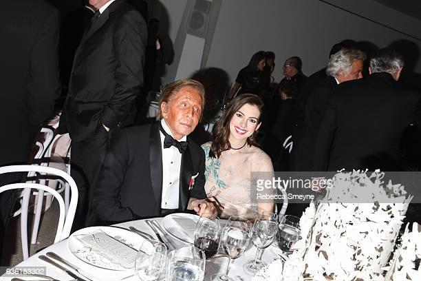 Valentino Garavani and Anne Hathaway attend the Guggenheim International Gala at the Solomon R Guggenheim Museum on November 17 2016 in New York City