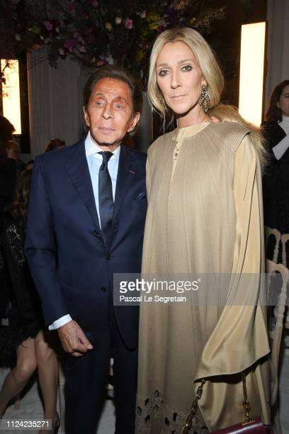 Valentino Garavani and Celine Dion attend the Valentino Haute Couture Spring Summer 2019 show as part of Paris Fashion Week on January 23 2019 in...