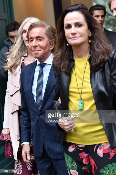 Valentino Garavani and Georgina Brandolini D'Adda seen arriving at Valentino show as part of the Paris Fashion Week Womenswear Spring/Summer 2018 on...