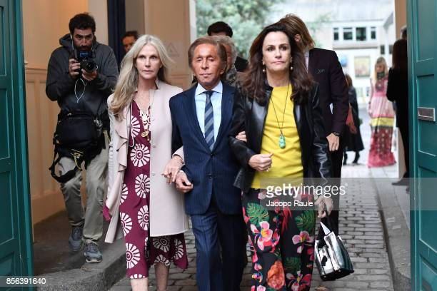 Valentino Garavani and Georgina Brandolini D'Adda seen arriving at Valentino show as part of the Paris Fashion Week Womenswear Spring/Summer 2018 on...