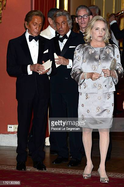 Valentino Garavani and Giancarlo Giametti attend a private dinner on the eve of the wedding of Princess Madeleine and Christopher O'Neill hosted by...