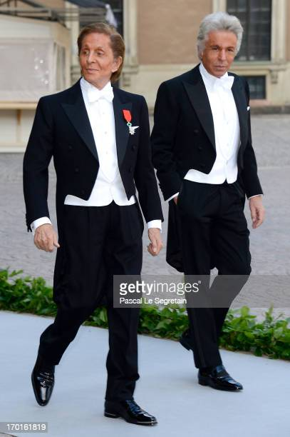 Valentino Garavani and Giancarlo Giametti attend the wedding of Princess Madeleine of Sweden and Christopher O'Neill hosted by King Carl Gustaf XIV...