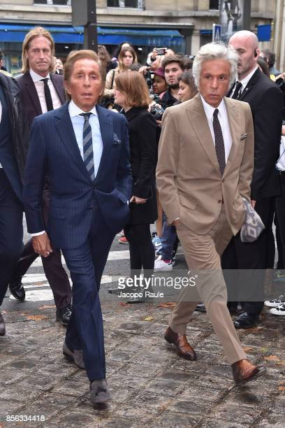 Valentino Garavani and Giancarlo Giammetti are seen arrivinga at Valentino show as part of the Paris Fashion Week Womenswear Spring/Summer 2018 on...