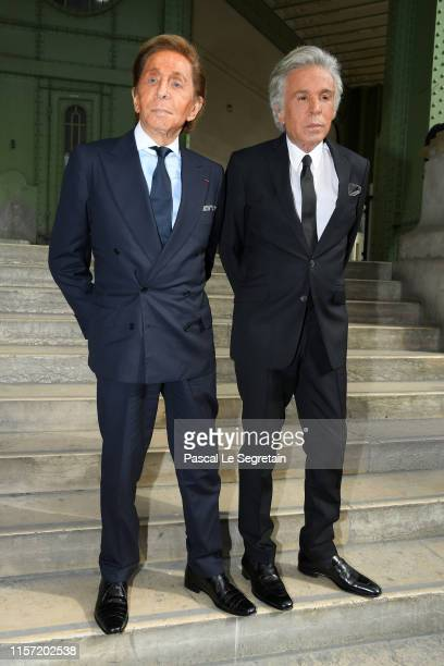 Valentino Garavani and Giancarlo Giammetti pose prior the Karl Lagerfeld Homage at Grand Palais on June 20, 2019 in Paris, France.