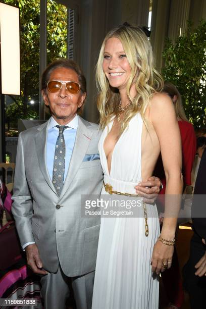 Valentino Garavani and Gwyneth Paltrow attend the Valentino Haute Couture Fall/Winter 2019 2020 show as part of Paris Fashion Week on July 03, 2019...