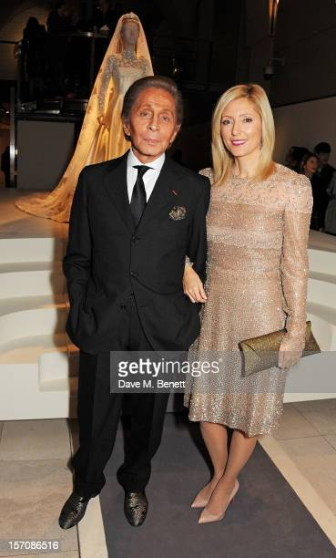 Valentino Garavani and Princess Marie Chantal of Greece attend a private view of 'Valentino Master Of Couture' exhibiting from November 29th 2012...