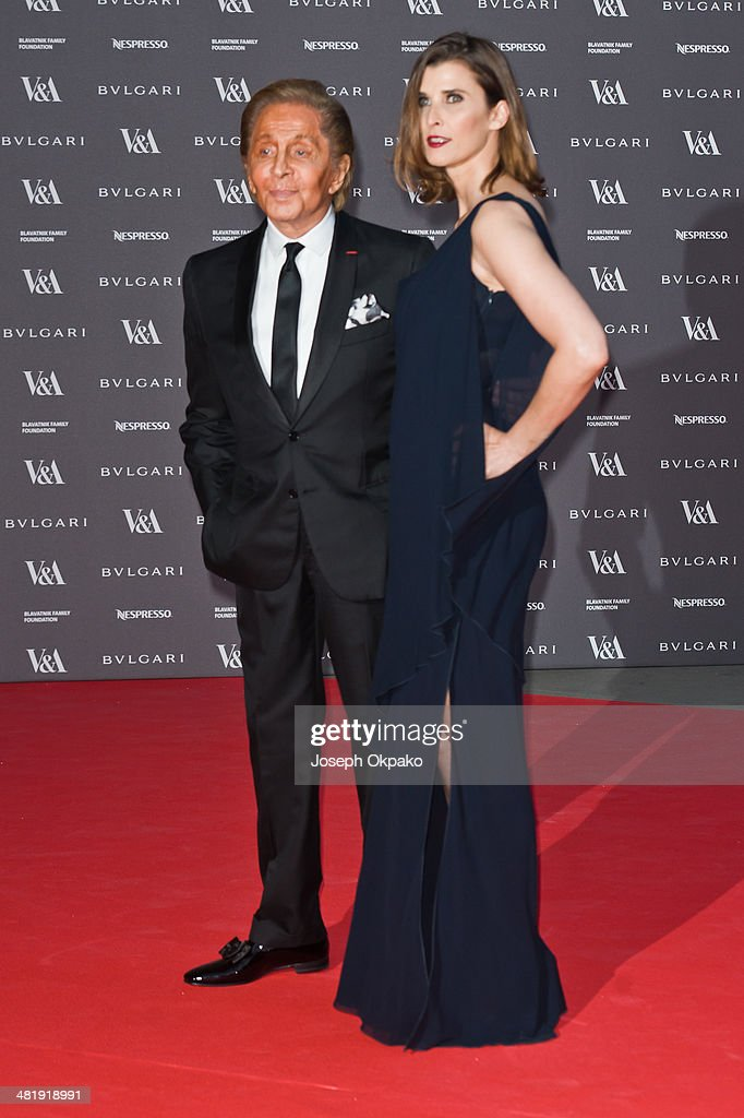 Valentino Garavani and Princess Rosario attends the preview of The Glamour of Italian Fashion exhibition at Victoria & Albert Museum on April 1, 2014 in London, England.
