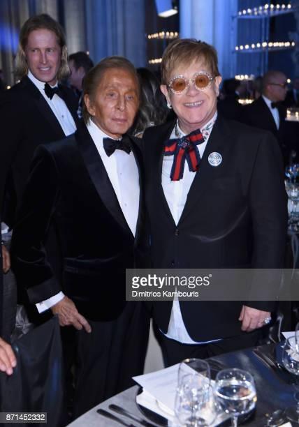 Valentino Garavani and Sir Elton John attend the Elton John AIDS Foundation 25th Year And Honors Founder Sir Elton John During New York Fall Gala at...