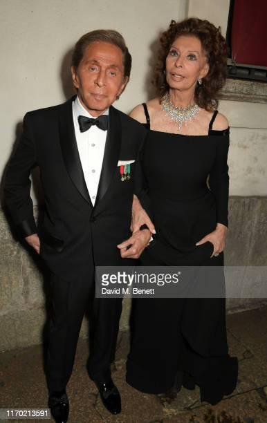 Valentino Garavani and Sophia Loren wearing Valentino attend The Green Carpet Fashion Awards, Italia 2019, hosted by CNMI & Eco-Age, at Teatro Alla...