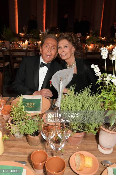 Valentino Garavani and Sophia Loren wearing Valentino attend The Green Carpet Fashion Awards Italia 2019 after party hosted by CNMI EcoAge at Palazzo...