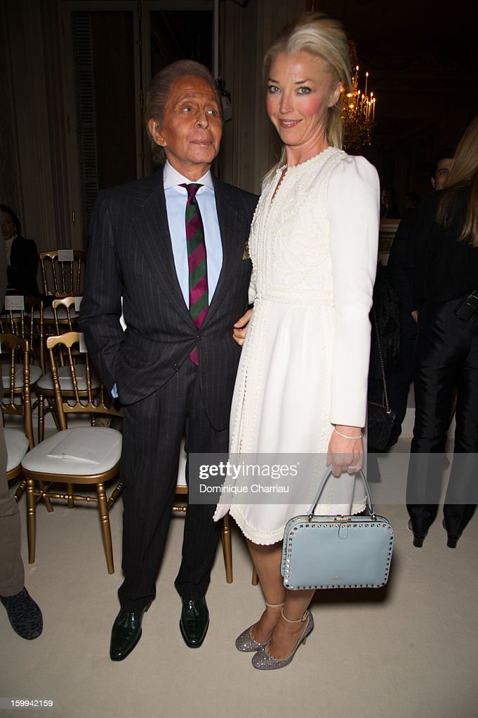 Valentino Garavani and Tamara Beckwith attend the Valentino Spring/Summer 2013 Haute-Couture show as part of Paris Fashion Week at Hotel Salomon de Rothschild on January 23, 2013 in Paris, France.
