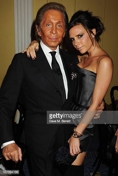 Valentino Garavani and Victoria Beckham attend the Diane Von Furstenburg and Claridge's launch party at Claridge's on June 23 2010 in London England