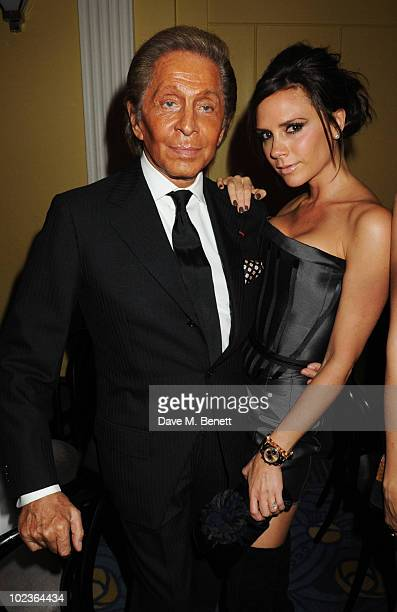 Valentino Garavani and Victoria Beckham attend the Diane Von Furstenberg and Claridge's launch party at Claridge's on June 23 2010 in London England