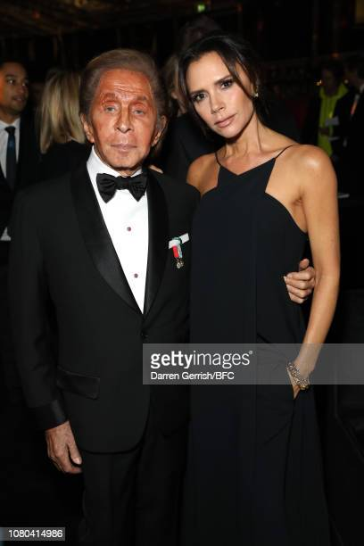 Valentino Garavani and Victoria Beckham during preceremony drinks at The Fashion Awards 2018 In Partnership With Swarovski at Royal Albert Hall on...