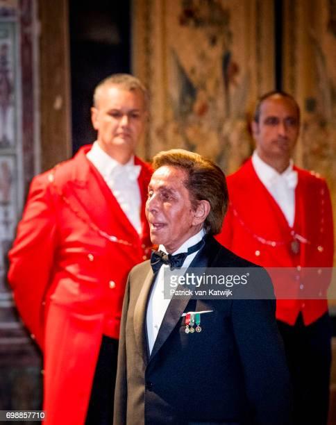 Valentino Garavani attends the official state banquet presented by President Sergio Mattarella and his wife Laura Mattarella at the Palazzo del...