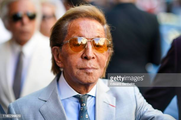 Valentino Garavani is seen outside Valentino during Paris Fashion Week Haute Couture Fall/Winter 2019/20 on July 03 2019 in Paris France
