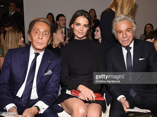 Valentino Garavani Katie Holmes and Giancarlo Giammetti attend the Valentino Sala Bianca 945 Event on December 10 2014 in New York City