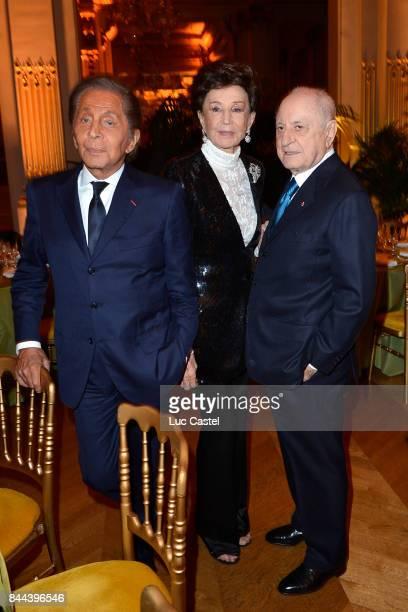 Valentino Jacqueline de Ribes and Pierre Berge attend the Diner de la societe des amis du Musee d'Orsay on October 08 2012 in Paris France