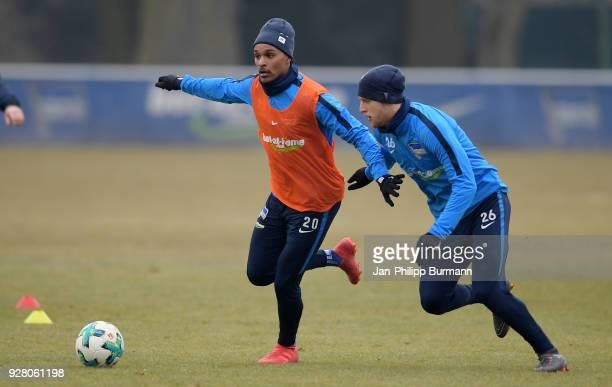 Valentino Lazaro and Arne Maier of Hertha BSC during the training session at the Schenkendorfplatz on march 6 2018 in Berlin Germany