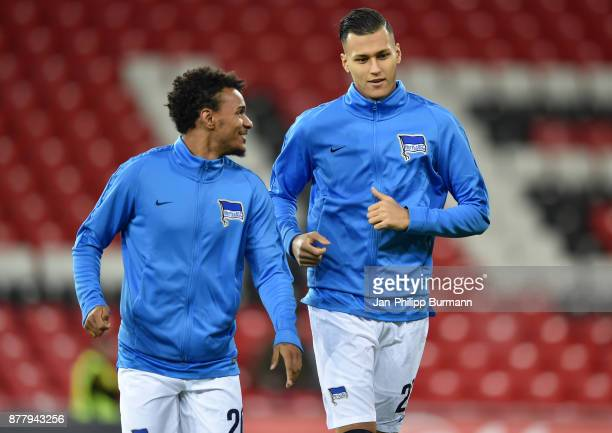 Valentino Lazaro and Davie Selke of Hertha BSC warmup ahead of the UEFA Europe League Group J match between Athletic Bilbao and Hertha BSC at San...