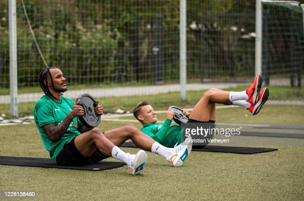 Valentino Lazaro and Hannes Wolf are seen during a Training session at the Training Camp of Borussia Moenchengladbach at Klosterpforte on August 21...