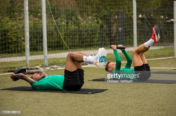 Valentino Lazaro and Hannes Wolf in action during a Training session at the Training Camp of Borussia Moenchengladbach at Klosterpforte on August 21...