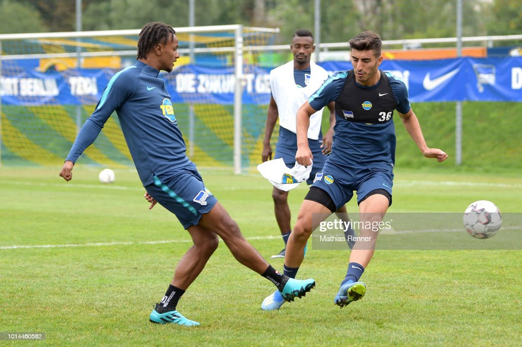 Valentino Lazaro and Muhammed Kiprit of Hertha BSC compete for the ball during the training camp on august 10, 2018 in Schladming, Austria.
