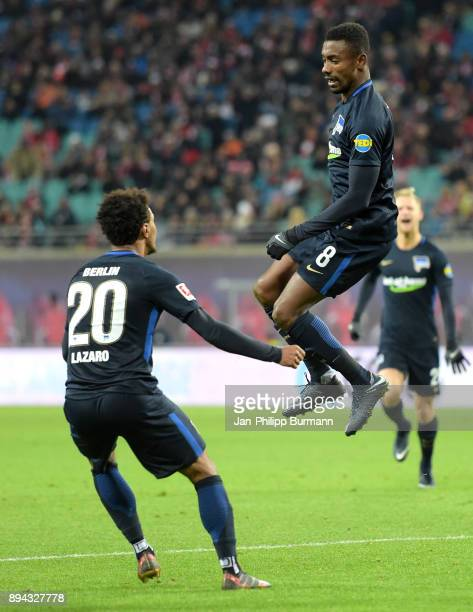 Valentino Lazaro and Salomon Kalou of Hertha BSC celebrate after scoring the 02 during the game between RB Leipzig and Hertha BSC on december 17 2017...