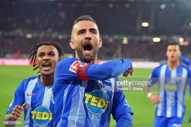 Valentino Lazaro and Vedad Ibisevic of Berlin celebrate during the Bundesliga match between Hannover 96 and Hertha BSC at HDIArena on December 1 2018...