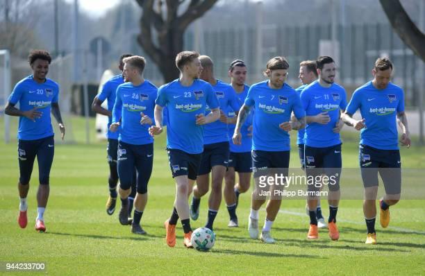 Valentino Lazaro Arne Maier Mitchell Weiser Alexander Esswein Mathew Leckie and Julian Schieber of Hertha BSC during the training at...