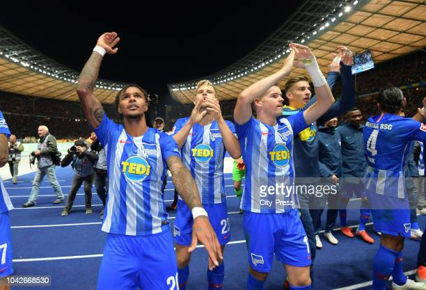 Valentino Lazaro Arne MaierMaximilian Mittelstaedt and Jonathan Klinsmann of Hertha BSC after the game between Hertha BSC and Bayern Muenchen at the...