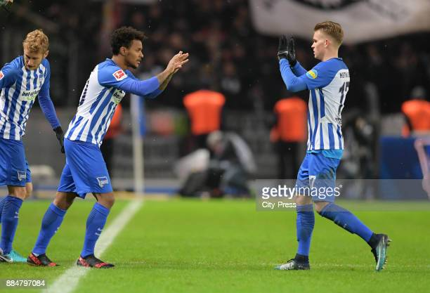 Valentino Lazaro comes on during a substitute for Maximilian Mittelstaedt of Hertha BSC during the game between Hertha BSC and the Eintracht...