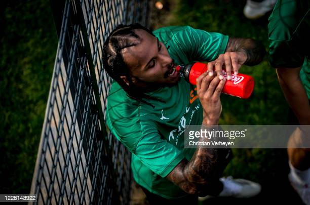 Valentino Lazaro cools down during a Training session at the Training Camp of Borussia Moenchengladbach at Klosterpforte on August 21 2020 in...