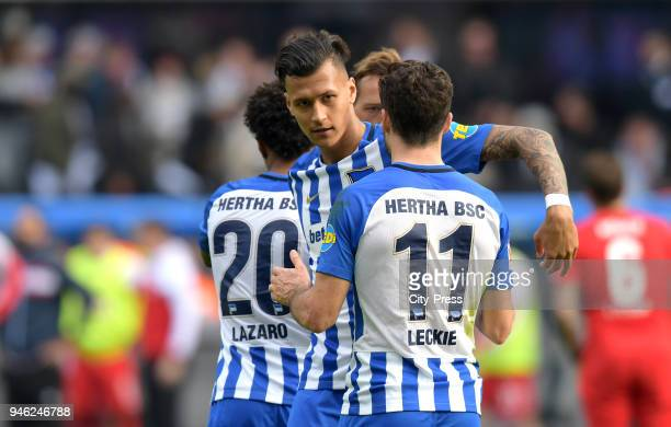 Valentino Lazaro Davie Selke and Mathew Leckie of Hertha BSC after the Bundesliga game between Hertha BSC and 1st FC Koeln at Olympiastadion on April...