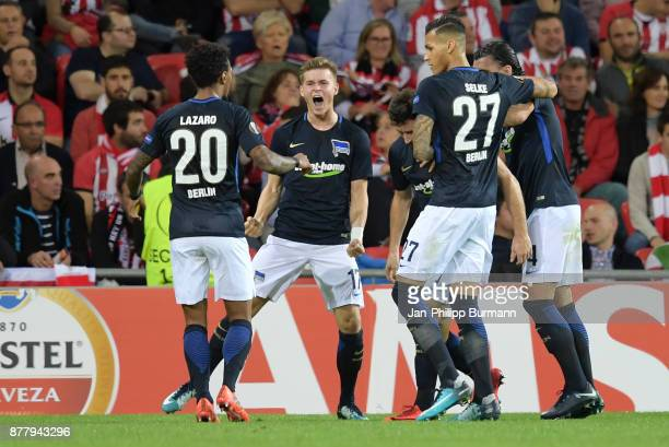 Valentino Lazaro Maximilian Mittelstaedt Mathew Leckie Davie Selke and Karim Rekik of Hertha BSC celebrate after scoring the 01 during the UEFA...