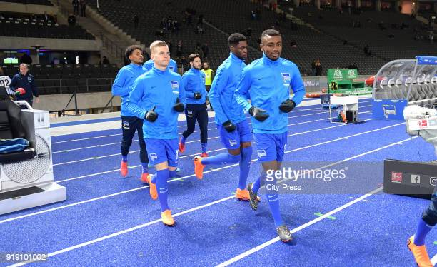 Valentino Lazaro Maximilian Mittelstaedt Mathew Leckie Jordan Torunarigha and Salomon Kalou of Hertha BSC before the first Bundesliga game between...