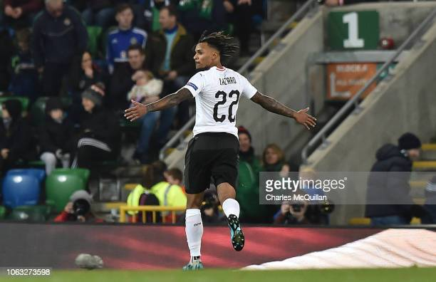 Valentino Lazaro of Austria celebrates after scoring the winning goal during the UEFA Nations League B group three match between Northern Ireland and...