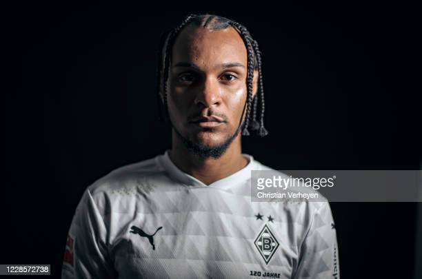 Valentino Lazaro of Borussia Moenchengladbach poses during the team presentation at BorussiaPark on August 07 2020 in Moenchengladbach Germany