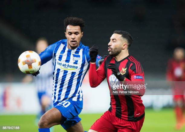 Valentino Lazaro of Herta Berlin SC and Saman Ghoddos of Ostersunds FK competes for the ball during the UEFA Europa League group J match between...