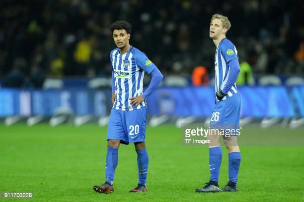 Valentino Lazaro of Hertha and Arne Maier of Hertha look on during the Bundesliga match between Hertha BSC and Borussia Dortmund at Olympiastadion on...
