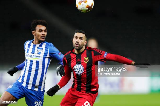 Valentino Lazaro of Hertha Berlin SC and Saman Ghoddos of Ostersunds FK competes for the ball during the UEFA Europa League group J match between...