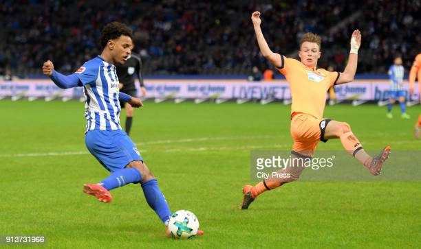 Valentino Lazaro of Hertha BSC and Dennis Geiger of the TSG 1899 Hoffenheim during the game between Hertha BSC and TSG Hoffenheim on february 3 2018...