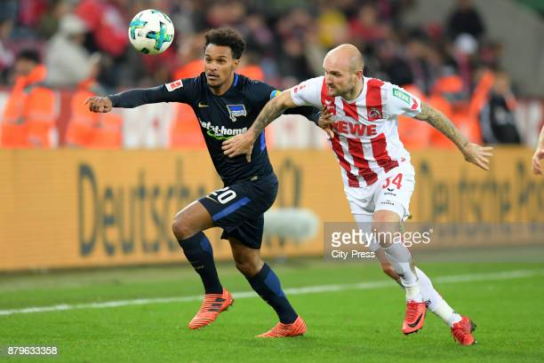 Valentino Lazaro of Hertha BSC and Konstantin Rausch of 1 FC Koeln during the game between 1 FC Koeln and Hertha BSC on November 26 2017 in Koeln...