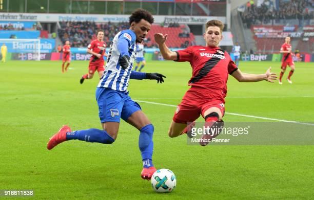 Valentino Lazaro of Hertha BSC and Panagiotis Retsos of Bayer 04 Leverkusen during the first Bundeliga game between Bayer 04 Leverkusen and Hertha...