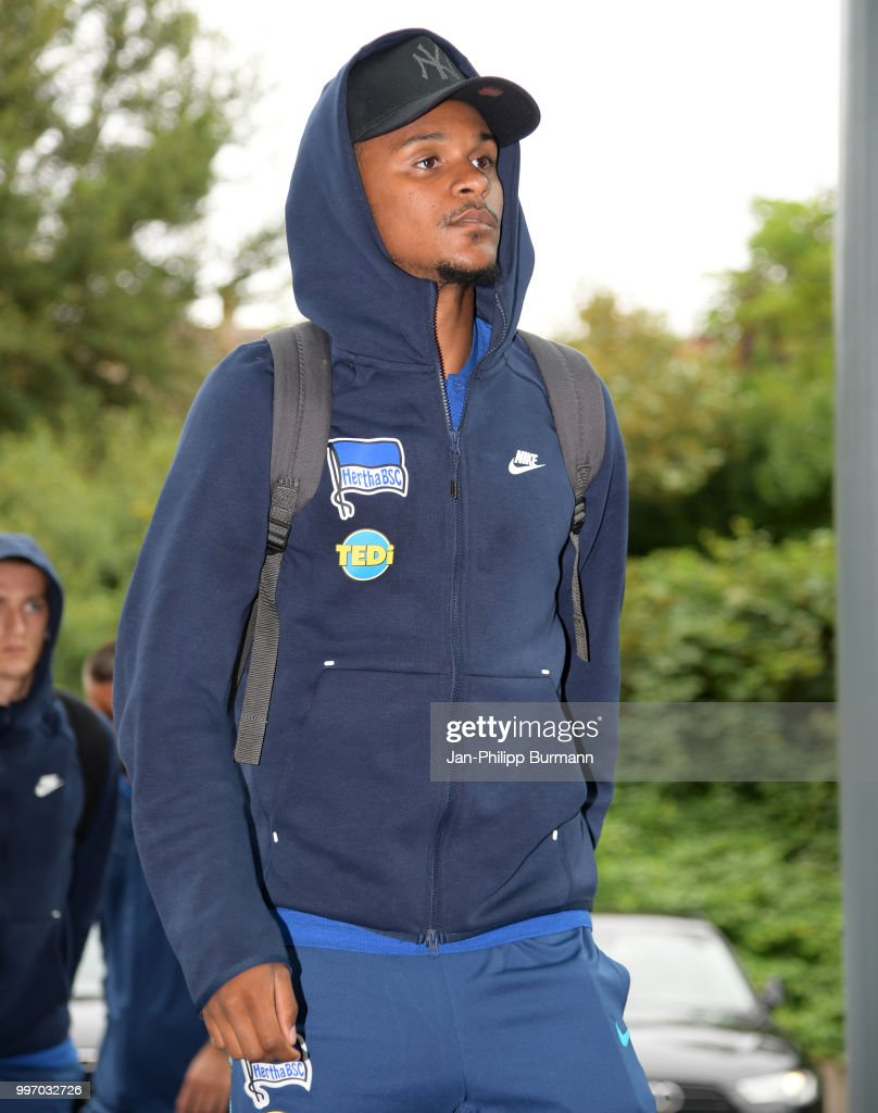 Valentino Lazaro of Hertha BSC during a training camp on July 12, 2018 in Neuruppin, Germany.