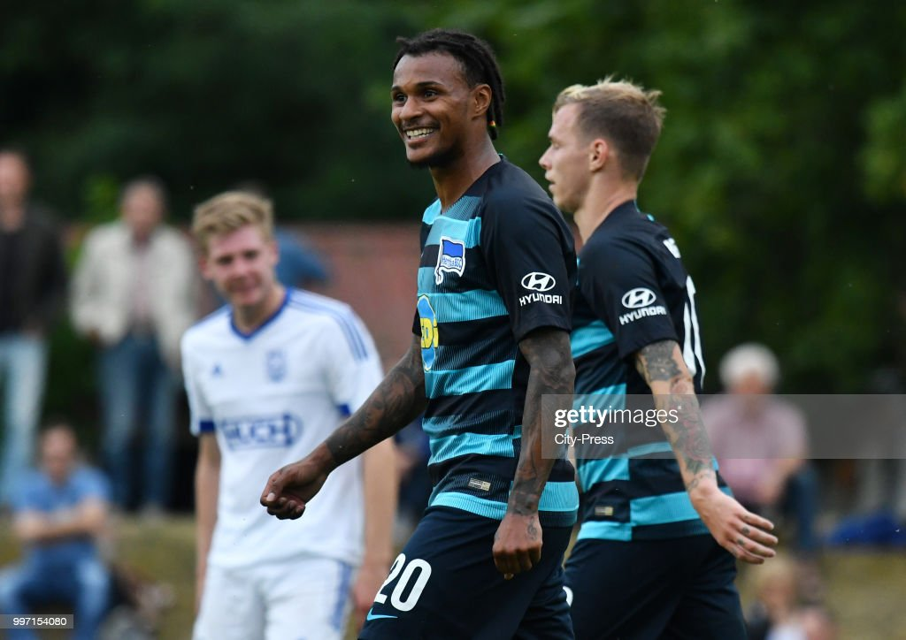 Valentino Lazaro of Hertha BSC during the game between MSV Neuruppin against Hertha BSC at the Volkspar-Stadion on july 12, 2018 in Neuruppin, Germany.