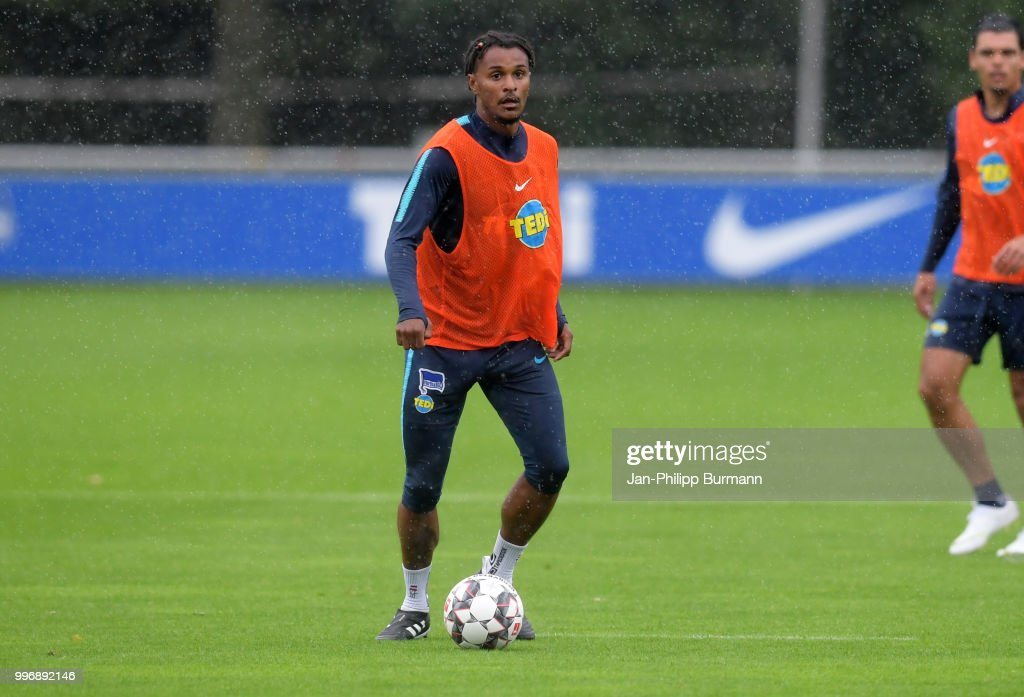 Valentino Lazaro of Hertha BSC during the training at the Schenkendorfplatz on July 12, 2018 in Berlin, Germany.