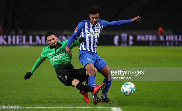 Valentino Lazaro of Hertha BSC is challenged by Julian Korb of Hannover 96 during the Bundesliga match between Hertha BSC and Hannover 96 at...
