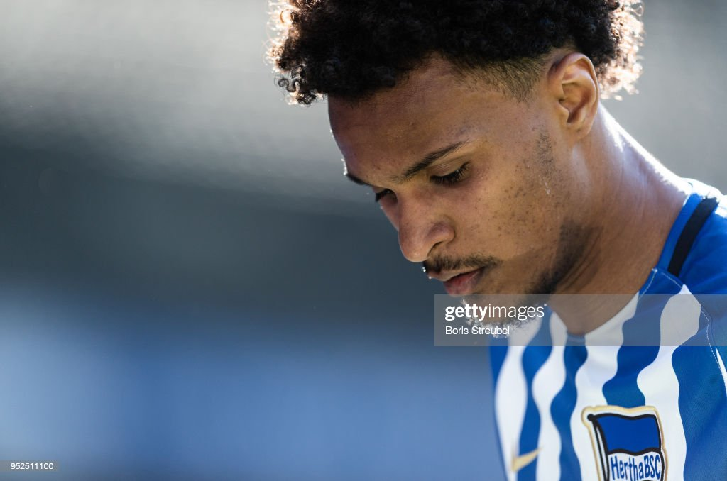 Valentino Lazaro of Hertha BSC looks on during the Bundesliga match between Hertha BSC and FC Augsburg at Olympiastadion on April 28, 2018 in Berlin, Germany.