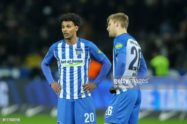 Valentino Lazaro of Hertha speaks with Arne Maier of Hertha during the Bundesliga match between Hertha BSC and Borussia Dortmund at Olympiastadion on...